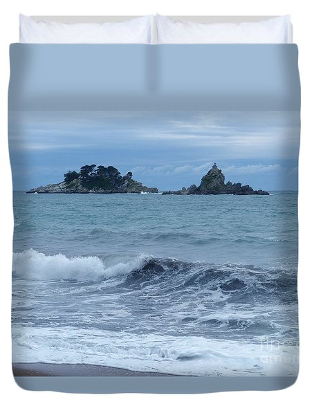 Duvet Cover featuring the photograph Petrovac - Katic Islands - Montenegro by Phil Banks