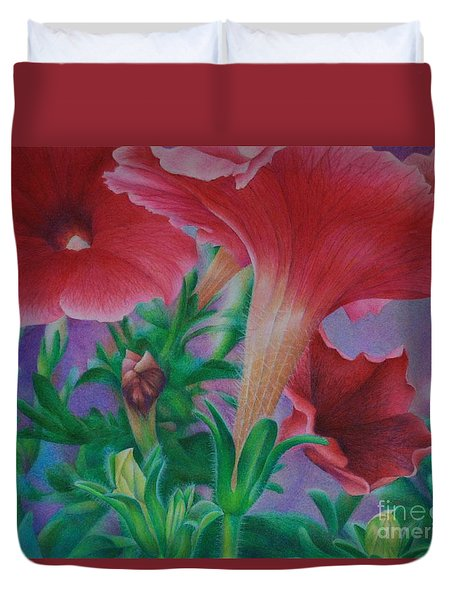 Duvet Cover featuring the painting Petunia Skies by Pamela Clements