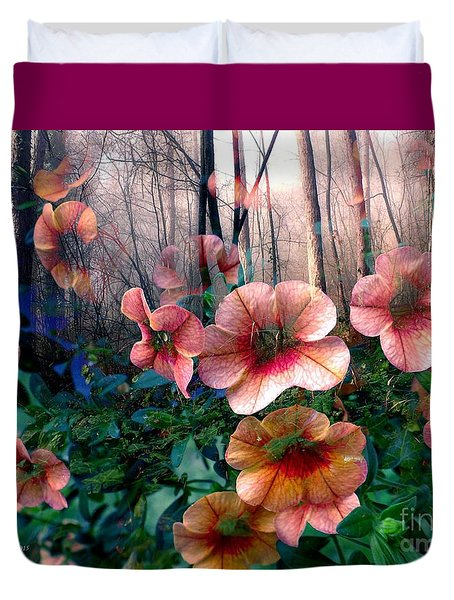 Petunias In The Forest Duvet Cover