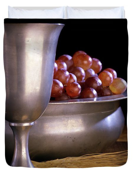 Pewter Chalice Grapes Wheat Communion Duvet Cover
