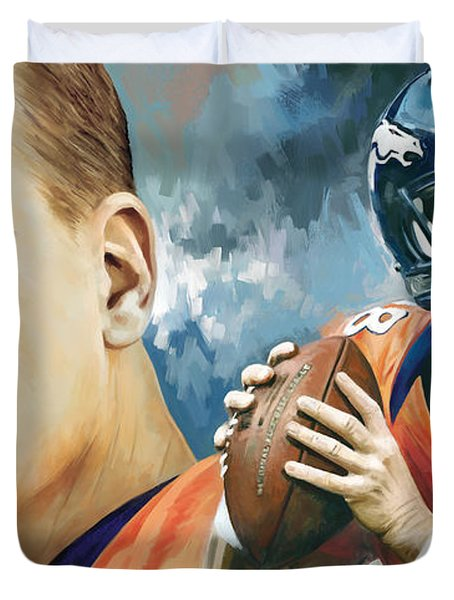 Peyton Manning Artwork Duvet Cover by Sheraz A