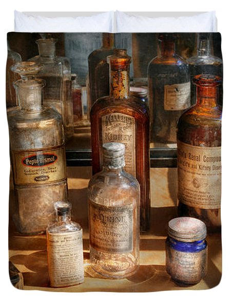 Pharmacist - Digestable Duvet Cover by Mike Savad