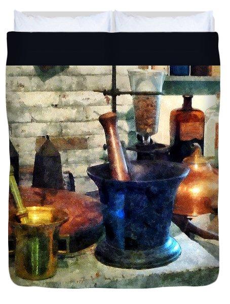 Pharmacist - Three Mortar And Pestles Duvet Cover by Susan Savad