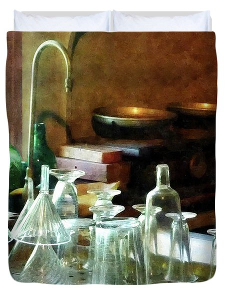 Pharmacy - Glass Funnels And Bottles Duvet Cover by Susan Savad
