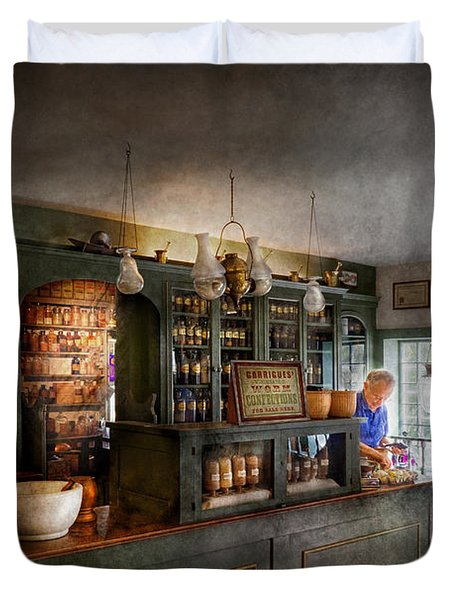 Pharmacy - Morning Preparations Duvet Cover by Mike Savad