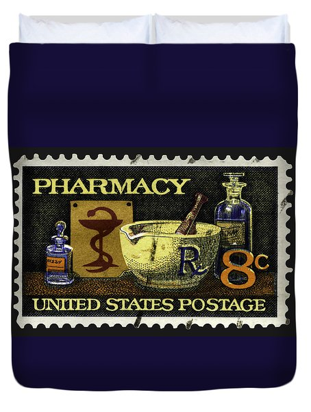 Pharmacy Stamp With Bowl Of Hygeia Duvet Cover