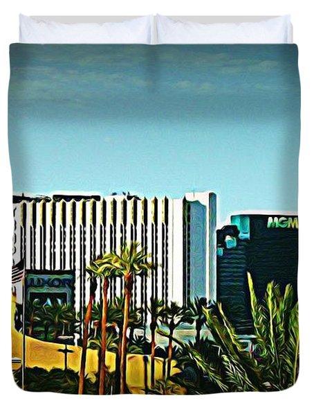 Pharoh Of Vegas Duvet Cover by John Malone