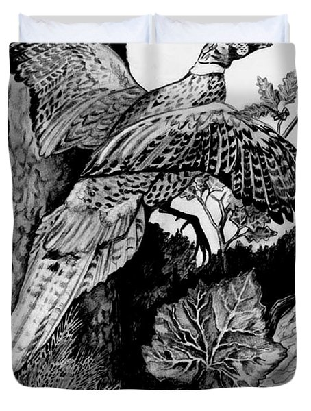 Pheasant In Flight Duvet Cover