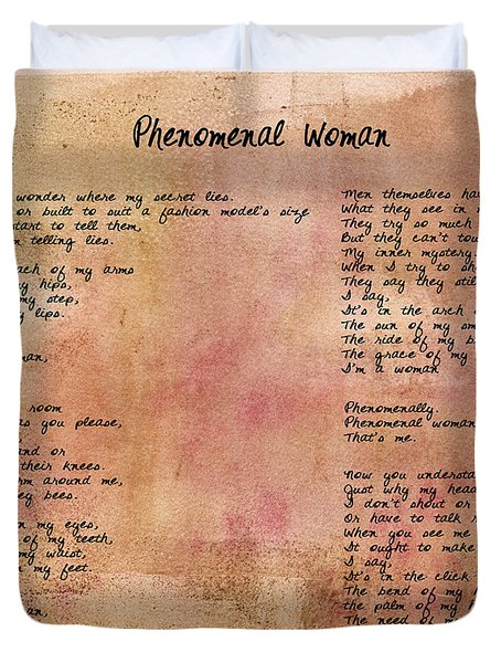 Phenomenal Woman - Red Rustic Duvet Cover