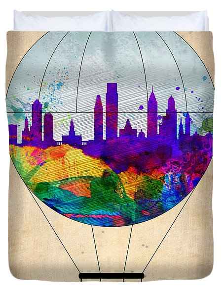 Philadelphia Air Balloon Duvet Cover by Naxart Studio