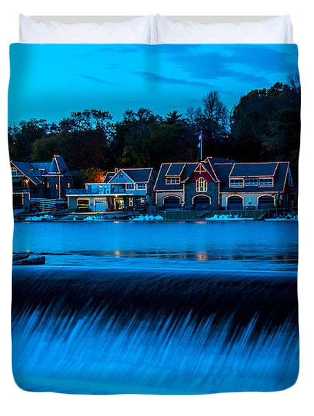Philadelphia Boathouse Row At Sunset Duvet Cover