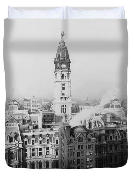 Philadelphia City Hall 1900 Duvet Cover by Bill Cannon