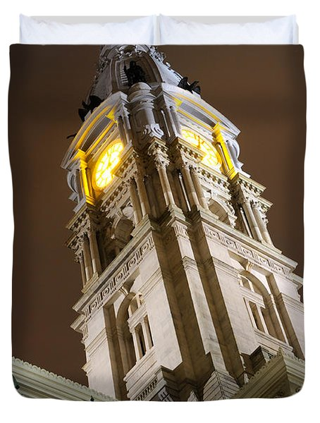 Philadelphia City Hall Clock Tower At Night Duvet Cover by Gary Whitton