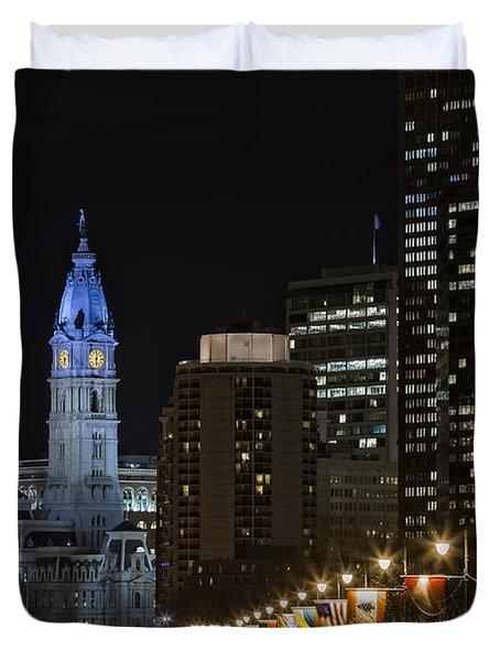 Philadelphia City Hall Duvet Cover by Eduard Moldoveanu