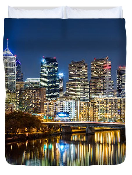 Philadelphia Cityscape Panorama By Night Duvet Cover by Mihai Andritoiu