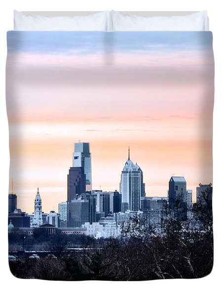 Philadelphia From Belmont Plateau Duvet Cover by Bill Cannon
