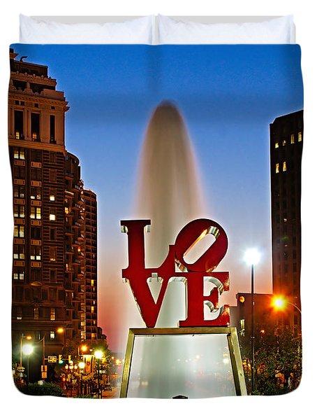 Philadelphia Love Park Duvet Cover