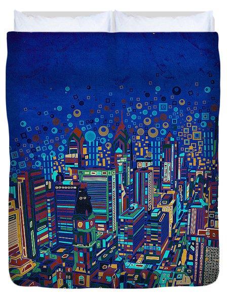 Philadelphia Panorama Pop Art 2 Duvet Cover