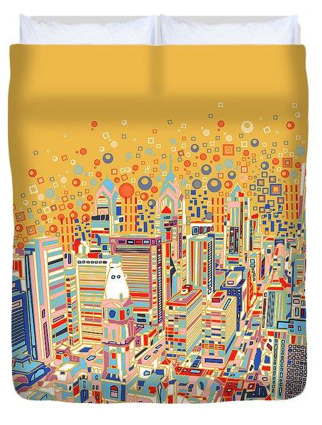 Philadelphia Panorama Pop Art Duvet Cover