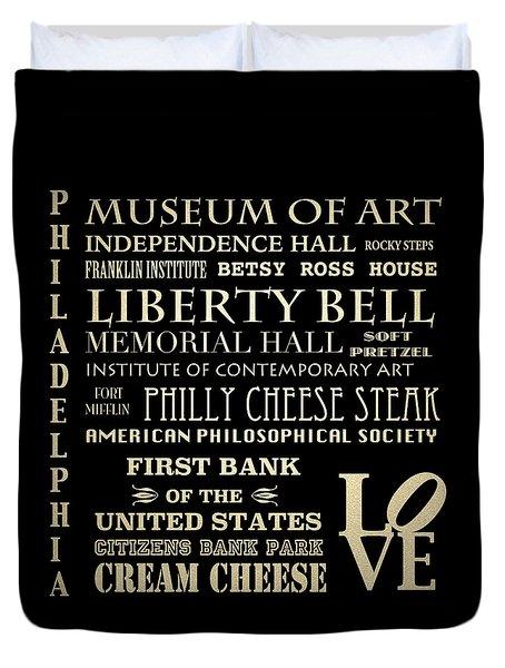 Philadelphia Pennsylvania Famous Landmarks Duvet Cover