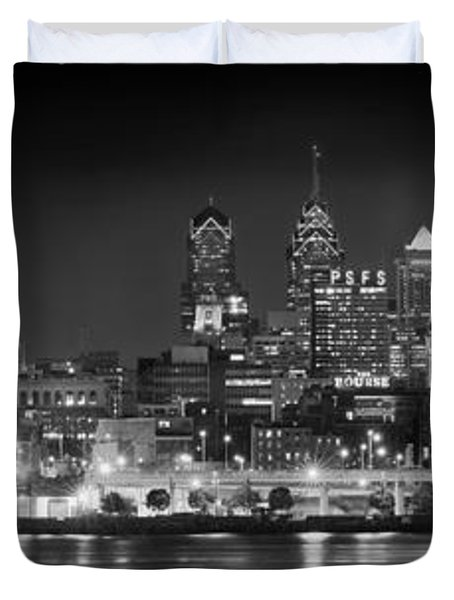 Philadelphia Philly Skyline At Night From East Black And White Bw Duvet Cover by Jon Holiday