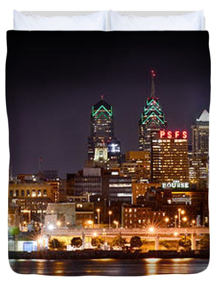 Philadelphia Philly Skyline At Night From East Color Duvet Cover by Jon Holiday
