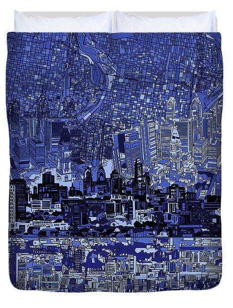 Philadelphia Skyline Abstract 2 Duvet Cover