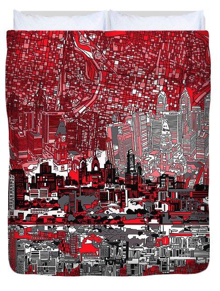 Philadelphia Skyline Abstract 4 Duvet Cover