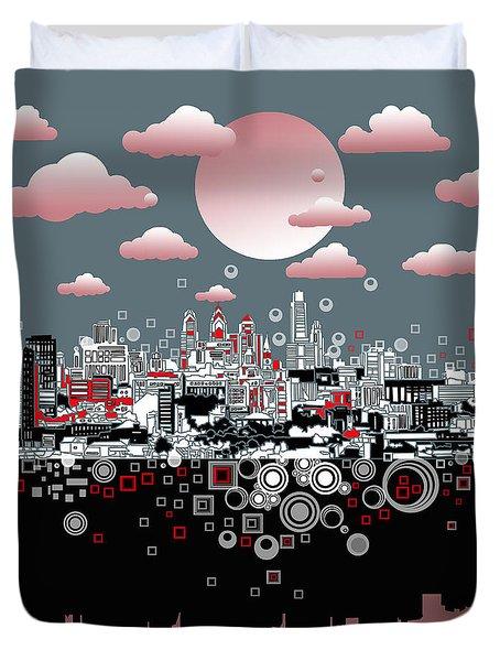 Philadelphia Skyline Abstract 6 Duvet Cover