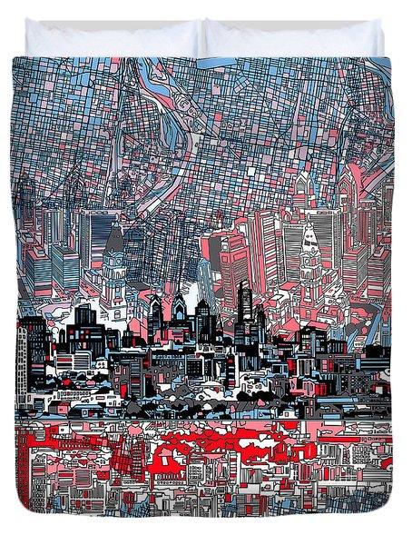 Philadelphia Skyline Abstract Duvet Cover