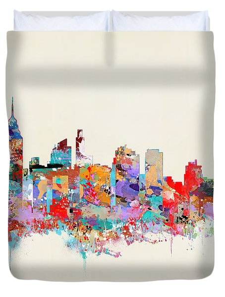 Philadelphia Skyline Duvet Cover by Bri B