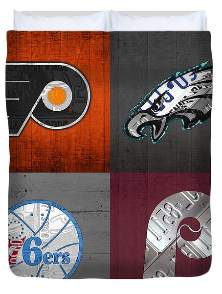 Philadelphia Sports Fan Recycled Vintage Pennsylvania License Plate Art Flyers Eagles 76ers Phillies Duvet Cover by Design Turnpike