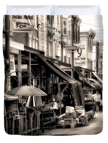 Philadelphia's Italian Market Duvet Cover by Bill Cannon
