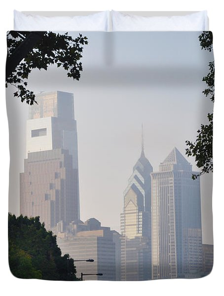 Philadelphia's Skyscrapers Duvet Cover by Bill Cannon