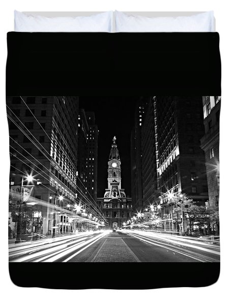 Philadephia City Hall -- Black And White Duvet Cover by Stephen Stookey