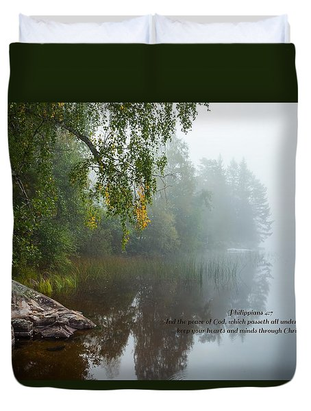 Duvet Cover featuring the photograph Philippians 4 Verse 7 by Rose-Maries Pictures