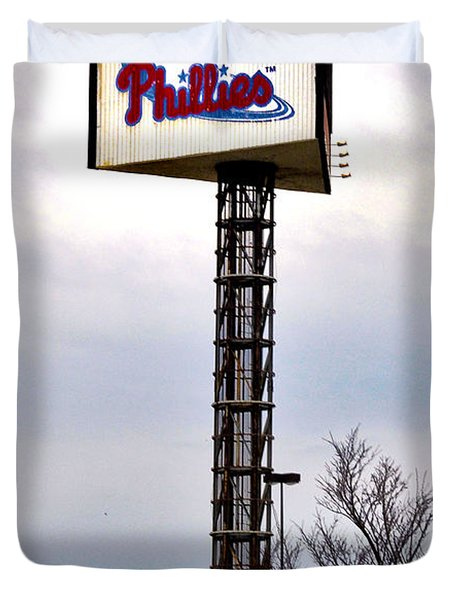 Phillies Stadium Sign Duvet Cover by Bill Cannon