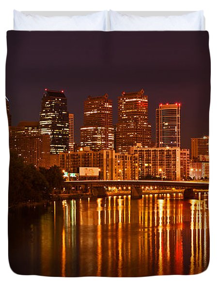 Philly Lights Reflected Duvet Cover