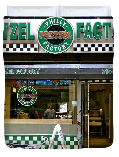 Philly Pretzel Factory Duvet Cover