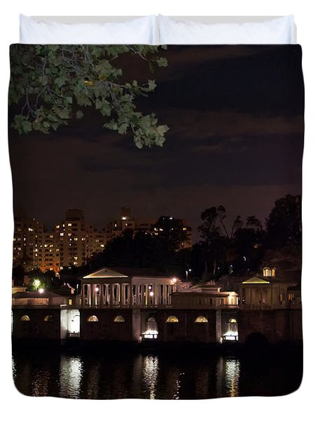 Philly Waterworks At Night Duvet Cover by Bill Cannon