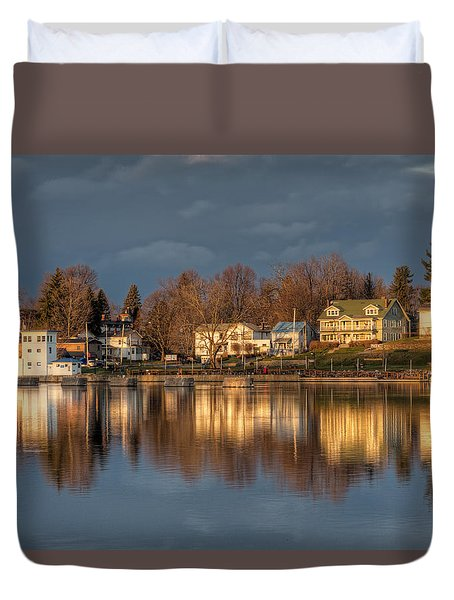 Reflection Of A Village - Phoenix Ny Duvet Cover by Everet Regal