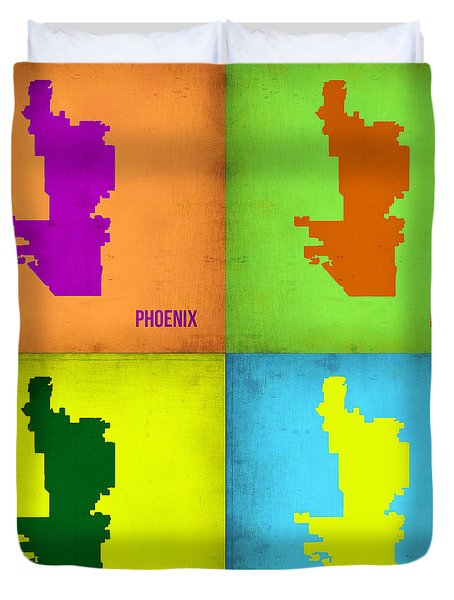 Phoenix Pop Art Map Duvet Cover by Naxart Studio