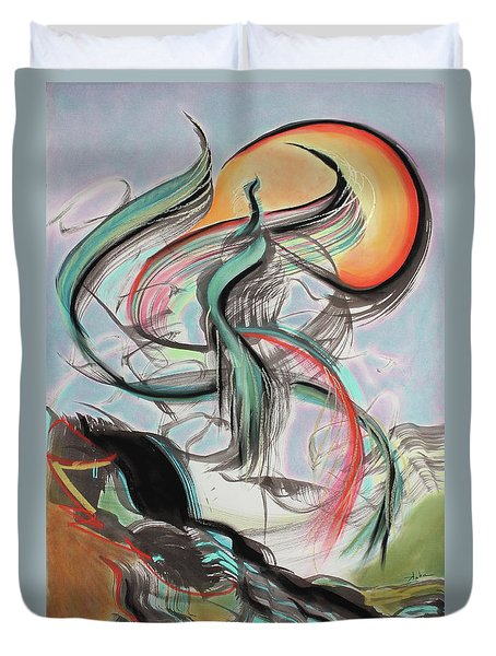 Duvet Cover featuring the painting Phoenix Rising by Asha Carolyn Young