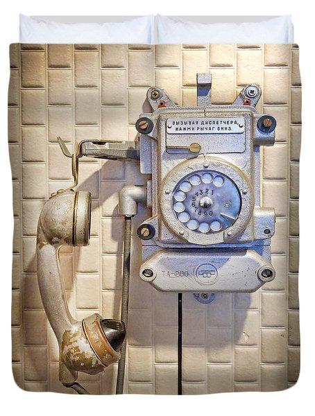 Phone Kgb Surveillance Room Duvet Cover by Martin Konopacki