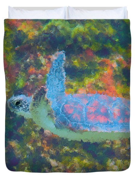 Photo Painting Of Sea Turtle Duvet Cover by Dan Friend