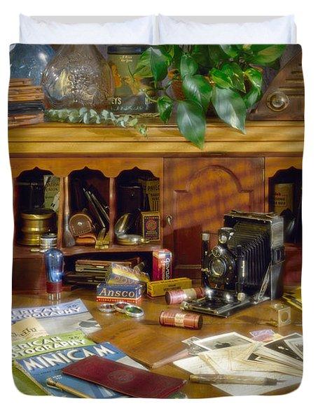 Photographers Desk 1939 Duvet Cover
