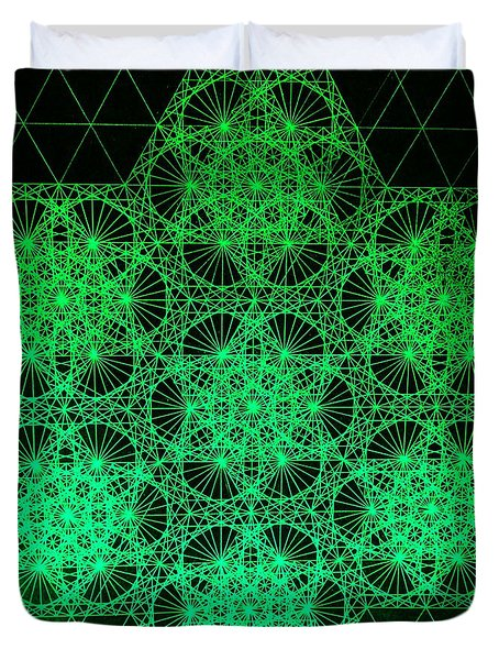 Duvet Cover featuring the drawing Photon Interference Fractal by Jason Padgett