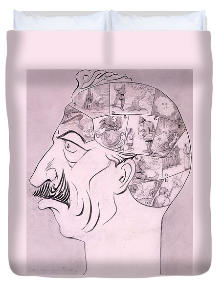 Phrenological Chart Of The German Duvet Cover by Oliver Herford