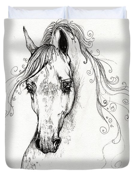 Piaff Polish Arabian Horse Drawing Duvet Cover by Angel  Tarantella