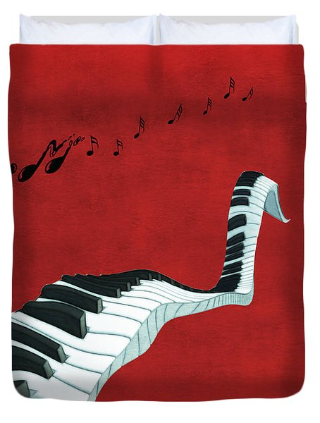 Piano Fun - S01at01 Duvet Cover by Variance Collections